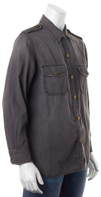 CURRENT ELLIOTT Dust Gray The Perfect Shirt Analog Button Down Shirt Top