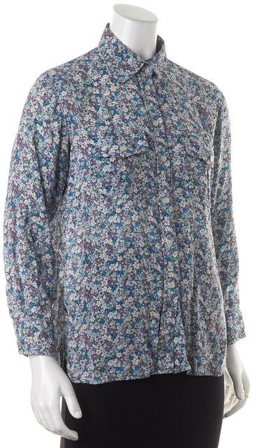 CURRENT ELLIOTT Blue Purple Floral Long Sleeve Button Down Shirt