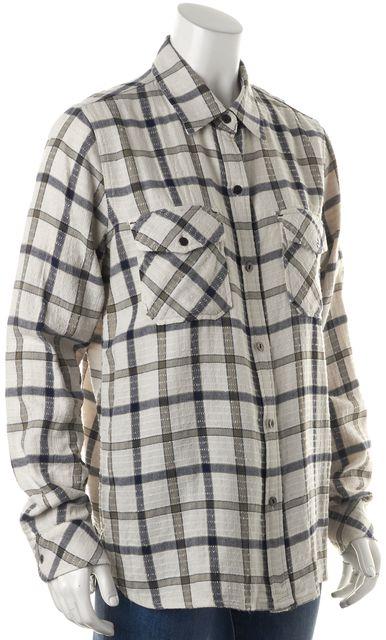 CURRENT ELLIOTT Light Beige Blue Olive Plaid Button Down Shirt Top