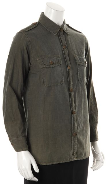 CURRENT ELLIOTT Army Green The Perfect Shirt Button Down Top