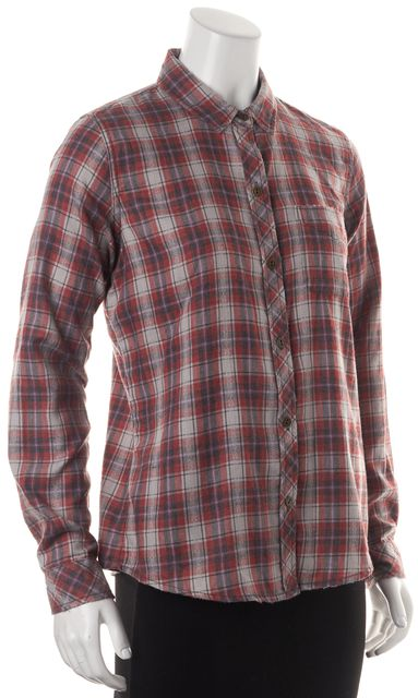 CURRENT ELLIOTT Red Blue Plaid Long Sleeve Button Down Shirt