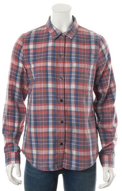 CURRENT ELLIOTT Stardust Pink Plaid Slim Boy Button Down Shirt Top