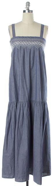 CURRENT ELLIOTT Blue White Embroidered Shift Full Length Sleeveless Dress