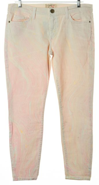 CURRENT ELLIOTT Pink The Stiletto Marble Taffy Skinny Jeans