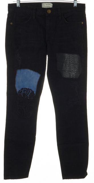 CURRENT ELLIOTT Black Skinny Patchwork Mid-Rise Jeans