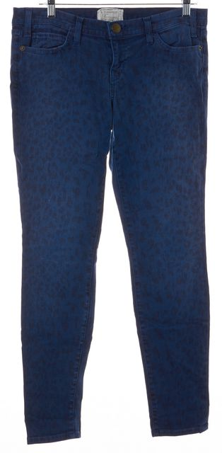 CURRENT ELLIOTT Blue Sapphire Leopard Print The Ankle Skinny Jeans