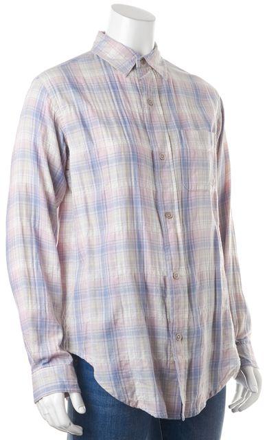 CURRENT ELLIOTT Blue Plaid Button Down Shirt