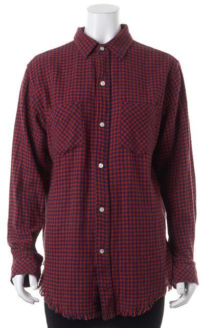 CURRENT ELLIOTT Red Navy Check Fringe Prep School Button Down Shirt