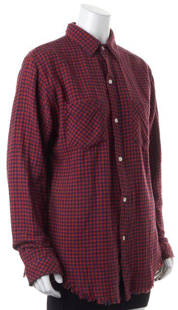 CURRENT ELLIOTT Red Navy Checkered Prep School Button Down Shirt