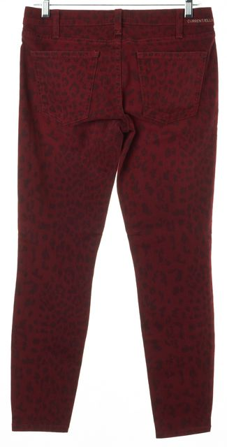 CURRENT ELLIOTT Red Leopard Print The Stiletto Blood Skinny Jeans