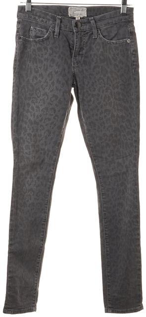 CURRENT ELLIOTT Gray Washed Black Leopard The Ankle Skinny Jeans