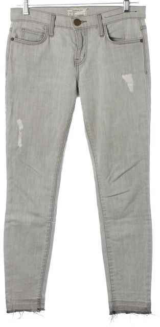 CURRENT ELLIOTT Gray Distressed The Stiletto Cropped Skinny Jeans