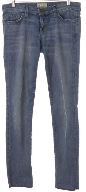 CURRENT ELLIOTT Blue Stretch Cotton Blecker Rolled Skinny Jeans
