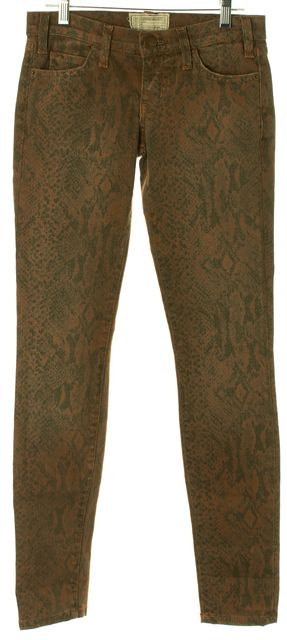 CURRENT ELLIOTT Brown Grey Animal Print Skinny Jeans