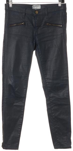 CURRENT ELLIOTT Blue Coated The Soho Zip Stiletto Skinny Jeans