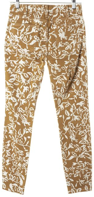 CURRENT ELLIOTT Gold White Floral Mid-Rise The Classic Skinny Jeans