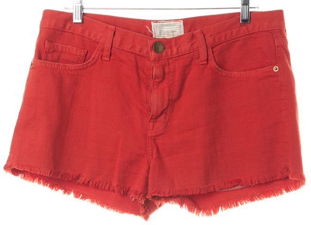 CURRENT ELLIOTT Cayenne Red Boyfriend Cutoff Denim Shorts