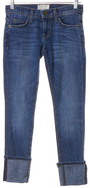 CURRENT ELLIOTT Blue The Beatnik Carousel Cuffed Cropped Jeans