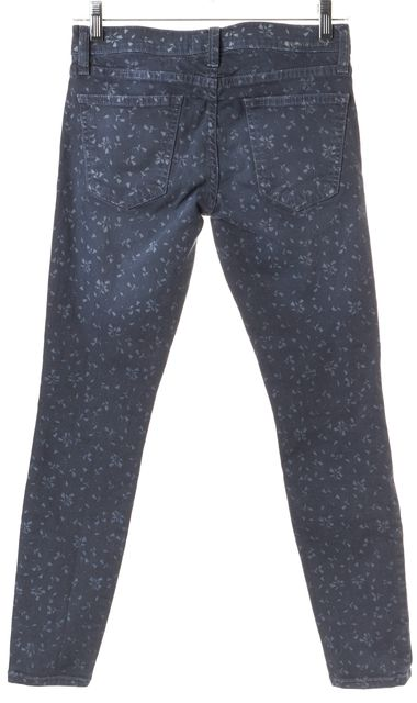 CURRENT ELLIOTT Blue Flower Five Pocket Low Rise Skinny Jeans