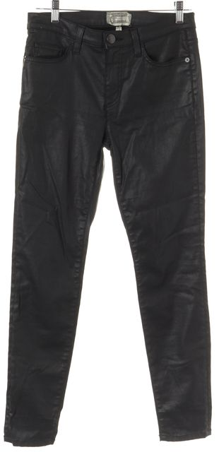 CURRENT ELLIOTT Black Waxed Cotton Skinny Jeans