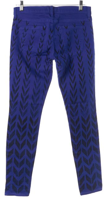 CURRENT ELLIOTT Blue Cobalt Chevron Mid-Rise The Ankle Skinny Jeans