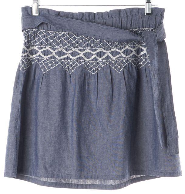 CURRENT ELLIOTT Chambray Blue Waist-Tie Mini Skirt