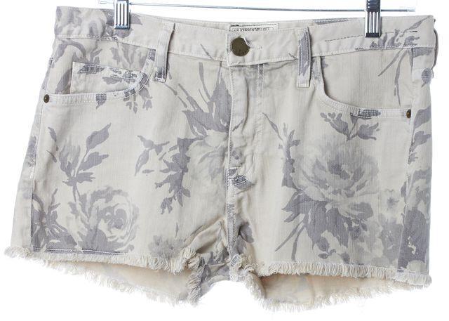 CURRENT ELLIOTT Vanilla Floral Cutoff Boyfriend Denim Shorts
