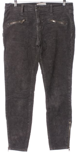 CURRENT ELLIOTT Gray Soho Zip Stiletto Corduroys Pants
