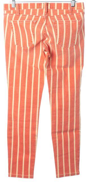 CURRENT ELLIOTT Orange Ivory Striped The Stiletto Cropped Jeans