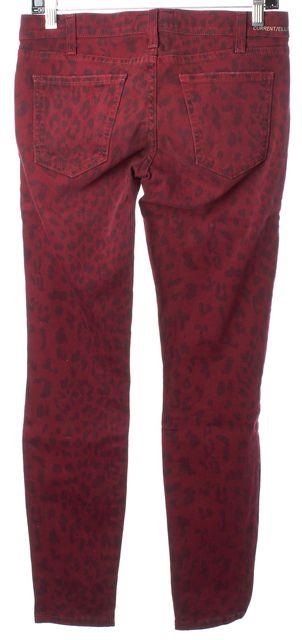CURRENT ELLIOTT Blood Black Leopard Print The Stiletto Cropped Jeans