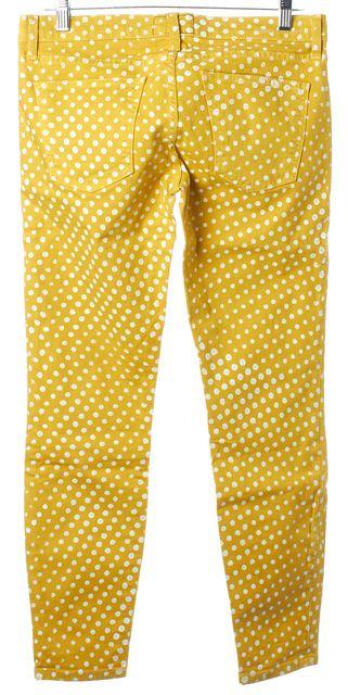 CURRENT ELLIOTT Lemongrass Polka Dot The Stiletto Cropped Jeans