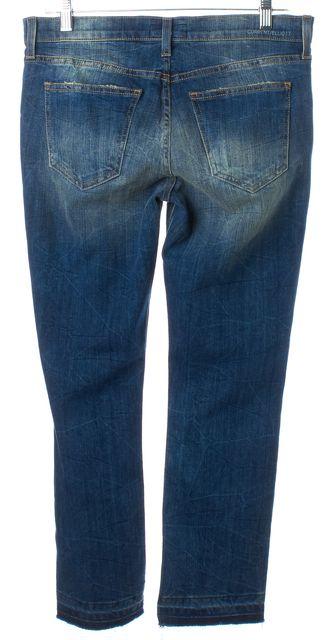 CURRENT ELLIOTT Blue Medium Sand Wash Straight Leg Cropped Jeans