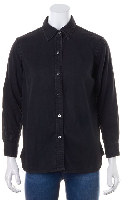 CURRENT ELLIOTT Black Long Sleeve Coated Denim Button Down Shirt