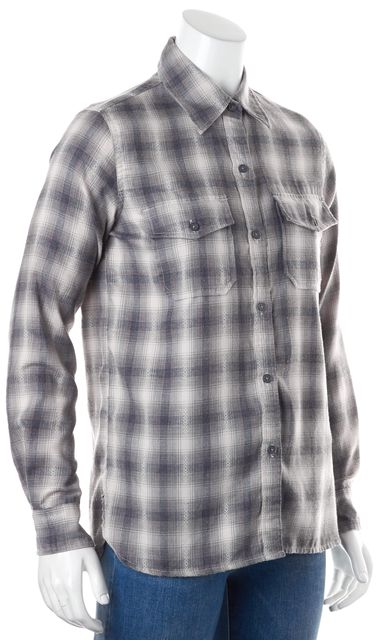 CURRENT ELLIOTT Gray Red Plaid Western Casual Button Down Shirt