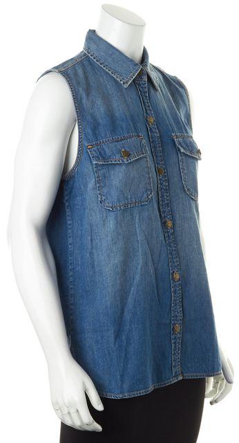 CURRENT ELLIOTT Blue Denim The Sleeveless Perfect Shirt Miner Top