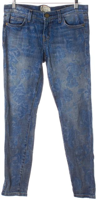 CURRENT ELLIOTT Blue Faded Rose Print The Stiletto Mid-Rise Skinny Jeans