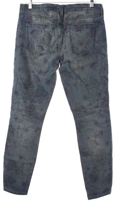 CURRENT ELLIOTT Blue Faded Burnt Floral Print The Stiletto Skinny Jeans