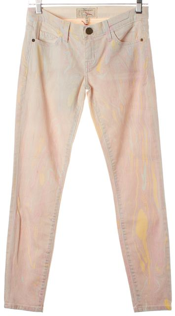 CURRENT ELLIOTT Pink Marble Taffy The Stiletto Skinny Ankle Jeans