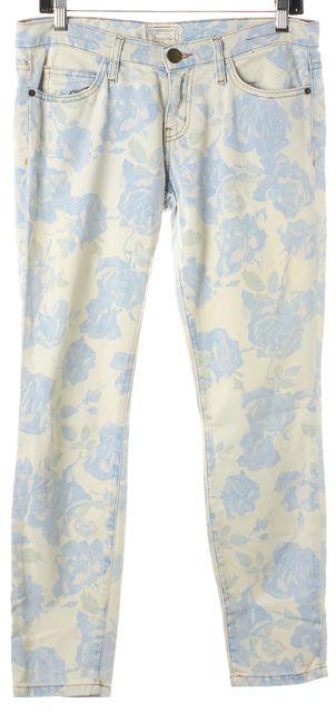 CURRENT ELLIOTT White Blue Rose Print Crop Ankle Skinny Jeans