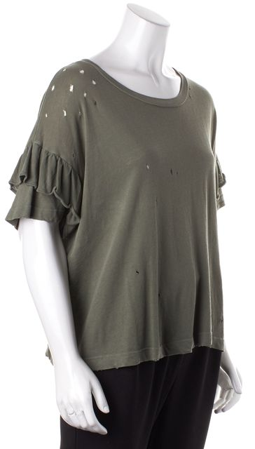 CURRENT ELLIOTT Army Green Basic Perforated Distressed T-Shirt