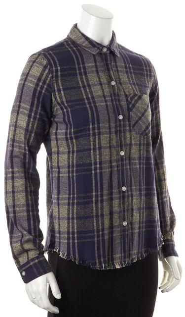 CURRENT ELLIOTT Navy Blue Green Plaid Print Fringe Hem Button Down Shirt