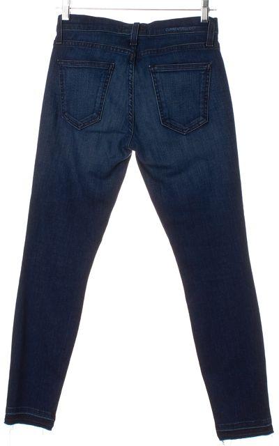 CURRENT ELLIOTT Blue Dark Wash The Stiletto Fray Bottom Skinny Jeans