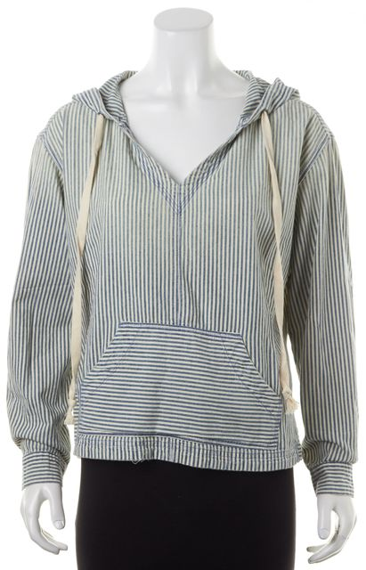 CURRENT ELLIOTT Ivory Blue Hickory Dee Striped The Venice Hoodie
