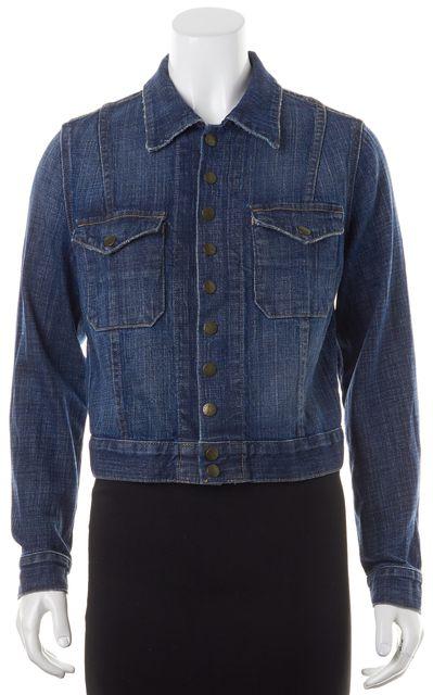 CURRENT ELLIOTT Navy Blue Snap Button Up Jean Jacket