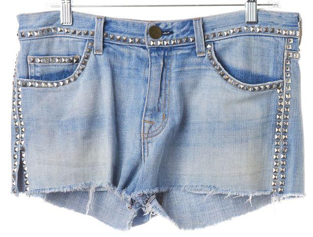 CURRENT ELLIOTT Blue Stud Embellished Boyfriend Denim Shorts