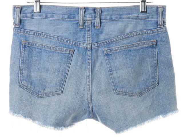 CURRENT ELLIOTT Lovefield Blue Distressed Fringe Roll Denim Shorts