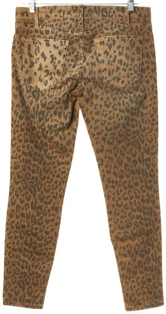 CURRENT ELLIOTT Brown Camel Leopard The Stiletto Skinny Jeans