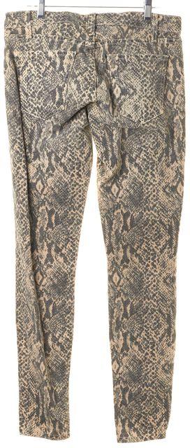 CURRENT ELLIOTT Beige Snake Print Mid-Rise Ankle Skinny Jeans