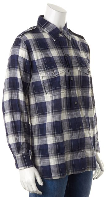 CURRENT ELLIOTT Blue White Venice Plaid Button Down The Perfect Shirt
