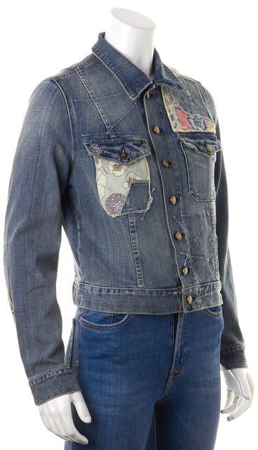 CURRENT ELLIOTT Blue Patchwork Denim Tack Jacket